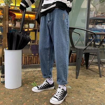 1018牛仔裤男士潮牌2019韩版宽松休闲九分男裤阔腿直筒裤