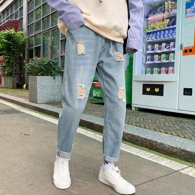 1020宽松牛仔裤男潮牌秋九分裤子秋季韩版潮流直筒阔腿裤
