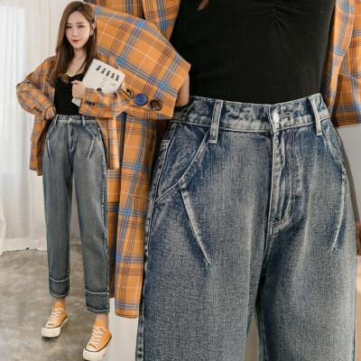 2020春装新款女式韩版牛仔裤高腰春夏哈伦裤宽松九分老爹裤女