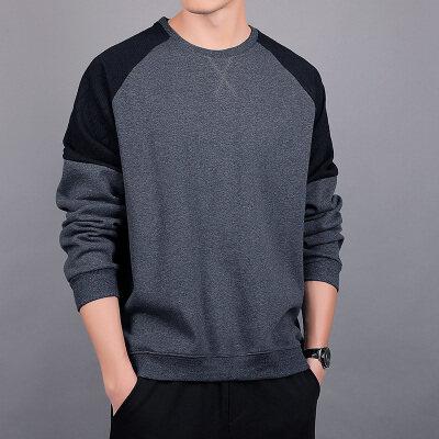 2020春季新款青年卫衣男圆领套头T恤衫长袖纯棉潮牌拼色