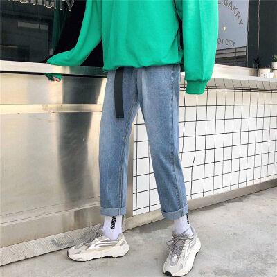 坠感阔腿老爹牛仔裤男宽松直筒港风2019网红裤子男九分裤潮流