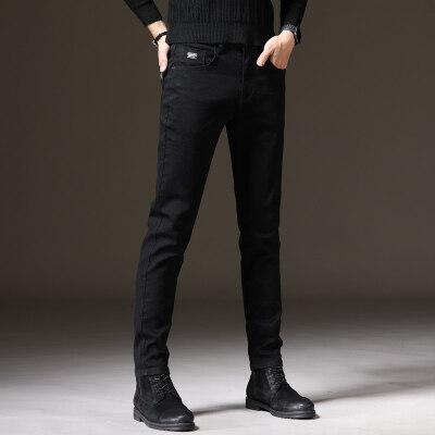 黑色牛仔裤男弹力修身潮牌小脚裤子男士秋冬休闲纯色韩版潮流长裤