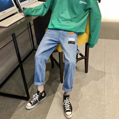 K62 男士宽松阔腿裤港风老爹裤 男装裤子潮流百搭 新款 9分浅色