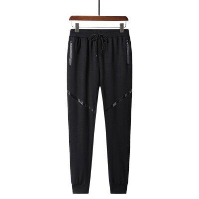 2019春季新款纯棉高品质运动长裤纯色收口运动长裤可贴牌