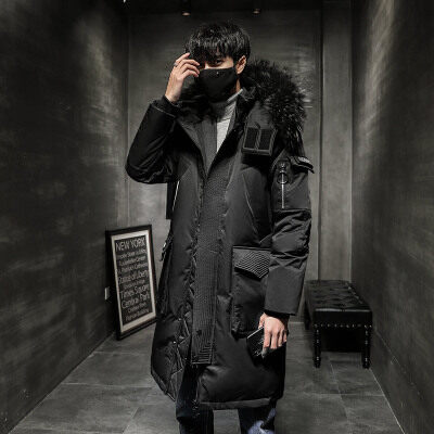 2019新款冬季羽绒服男中长款潮牌时尚连帽外套白鸭绒保暖大