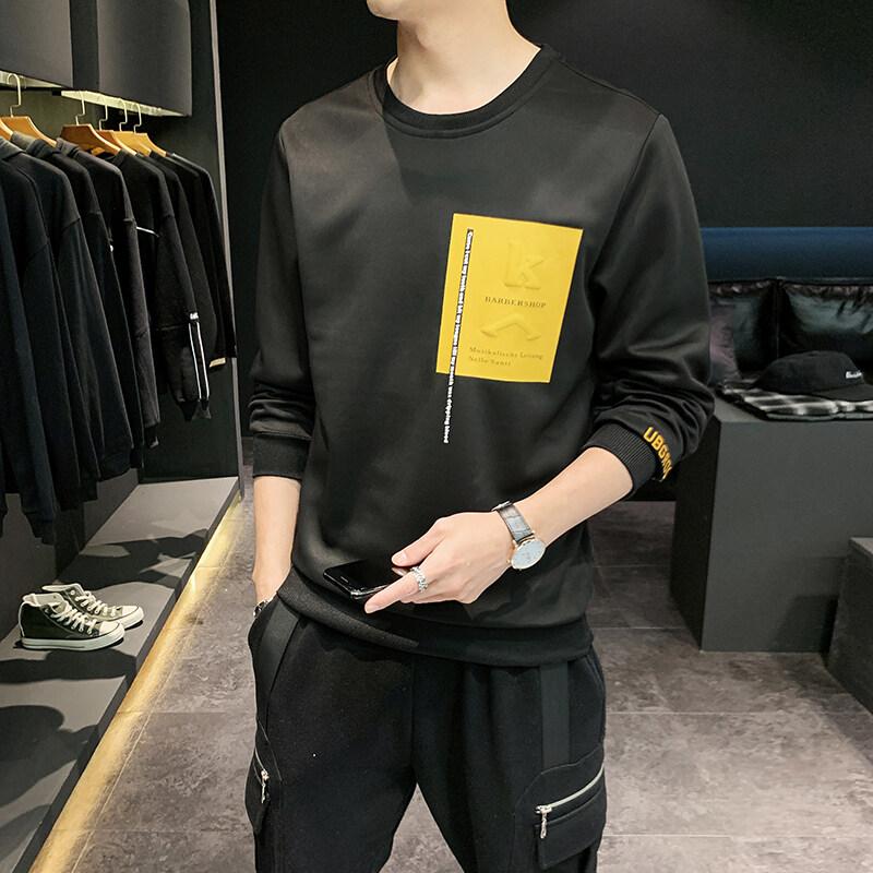 圆领卫衣男2020春秋季新款男士潮流套头韩版外套男个性印花
