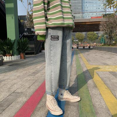 2020春季新款港味宽松复古牛仔裤男阔腿裤韩版潮流直筒裤潮