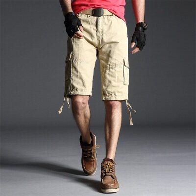 跨境直供男士夏季休闲短裤纯棉大码五分裤多口袋色中裤户外男裤