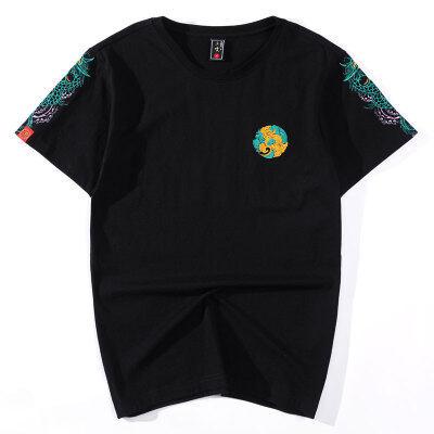 国潮龙纹刺绣T恤