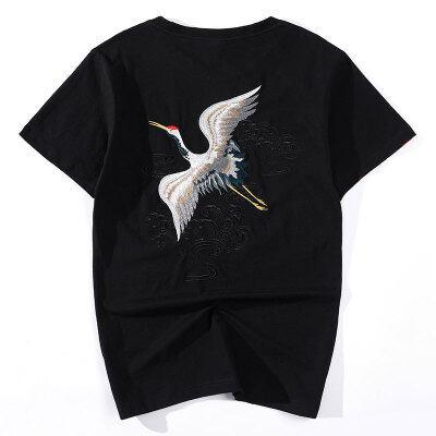 中国风刺绣仙鹤T恤