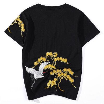 国潮松树刺绣仙鹤T恤