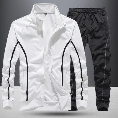 33888男士纯色运动套装夹克春季韩版潮流一套秋装休闲套装