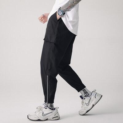 美式潮牌简约休闲男街头嘻哈拉链束脚裤裤工装裤九分裤