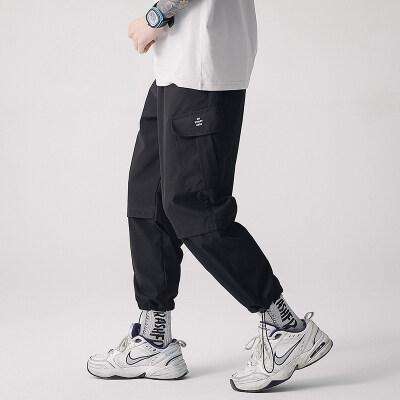 新款工装裤男束脚拉绳美式街头潮牌百搭休闲宽松直筒休闲裤子