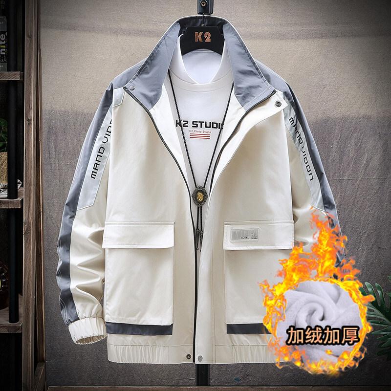 2020春季男士夹克加绒新款韩版潮流休闲修身衣服男士上衣
