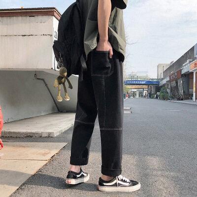 牛仔裤男韩版春夏直筒工装裤ins港风坠感阔腿老爹裤男士牛仔裤