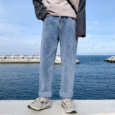 春夏新款复古牛仔裤男潮牌宽松坠感阔腿裤直筒男裤子男潮流老爹裤