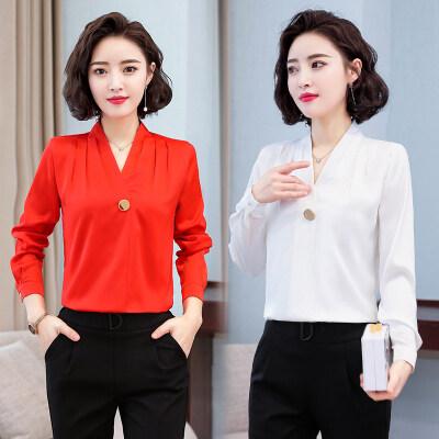 现货支持一件代发白色雪纺衬衫女士韩版长袖春秋季设计感2020