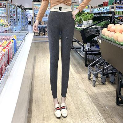 一件代发灰色打底裤女外穿秋螺纹竖条纹高腰弹力九分小脚裤