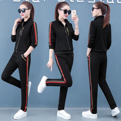 现货支持一件代发春秋运动服休闲套装女夏季2020新款宽松显瘦