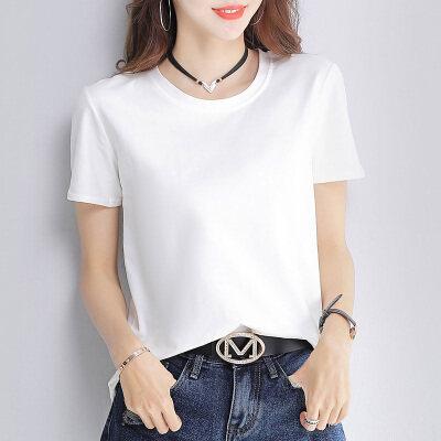 一件代发实拍 2020夏季纯棉纯色短袖T恤女(95棉 5氨纶
