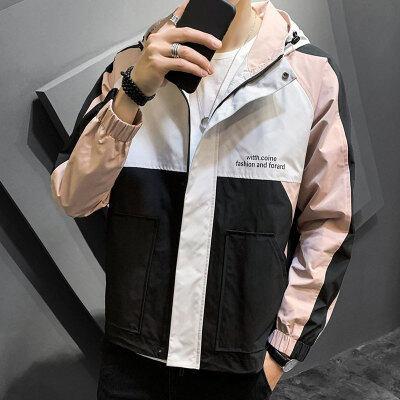 2020秋季新款男士潮牌工装夹克男青少年学生运动休闲连帽外套