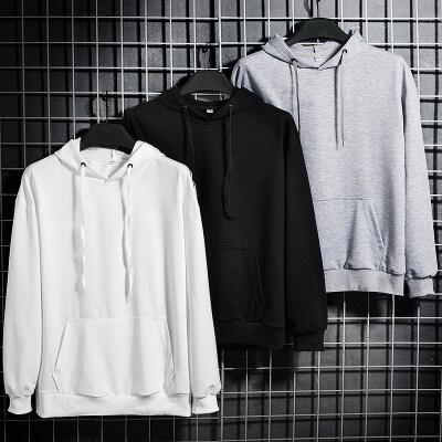 春季公版卫衣连帽套头长袖上衣纯色卫衣男白板团体服定制LOGO