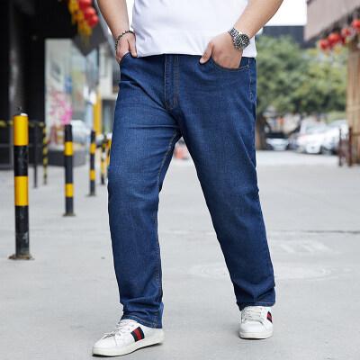 大码男装夏季薄款弹力牛仔裤加肥加大宽松阔腿裤胖子直筒耐磨长裤