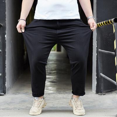 大码男装弹力九分裤春夏新款胖子休闲裤加肥加大哈伦阔腿小脚裤子