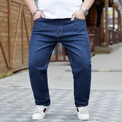 大码男装夏季薄款直筒裤子加肥加大牛仔裤阔腿宽松胖子长裤肥佬裤