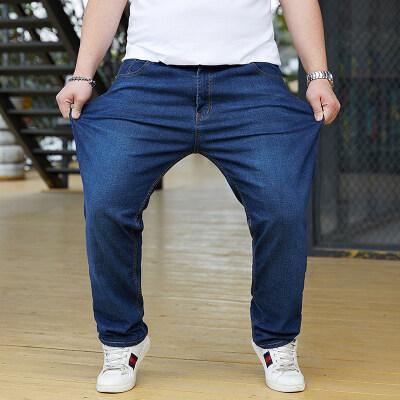 大码男装阔腿宽松休闲弹力牛仔裤加肥加大长裤夏季薄款胖子直筒裤