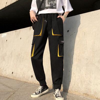 一件代发工装裤女显瘦高腰宽松休闲束脚帅气嘻哈潮ins九分裤