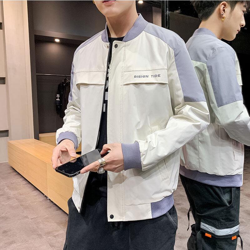男士夹克春季时尚修身韩版男士夹克外套休闲服潮流立领男装1201