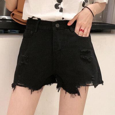 2020夏装实拍韩版时尚破洞毛边新款女装个性热裤高腰牛仔短裤