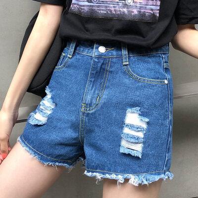 2020夏装实拍短裤女新款a字破洞毛须高腰韩版宽松显瘦热裤女