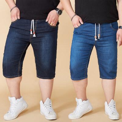 大码男装夏季松紧腰弹力牛仔五分裤系带中裤加肥加大马裤胖子短裤