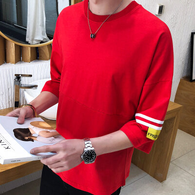 33016夏季新款半袖T恤宽松简约港风圆领短袖T恤五分袖