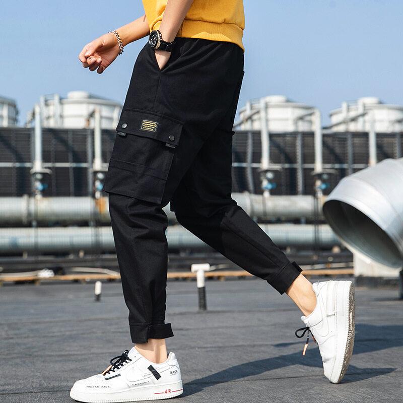 一件代发男式休闲裤夏季薄款宽松束脚九分裤子黑色工装裤大码男裤