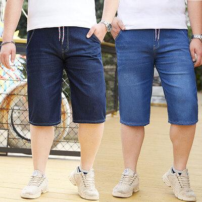 夏季薄款男加肥加大五分裤系带大码中裤松紧腰弹力大号潮胖子短裤