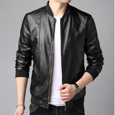 皮衣男薄款2020春季新款男士韩版修身棒球领休闲青年皮夹克外