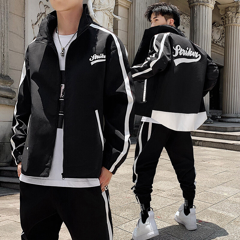 春季运动套装男秋季新款男士韩版宽松立领青年休闲两件套
