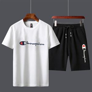 2020新款冠军休闲运动套装男夏季短袖短裤男士男装套装运动