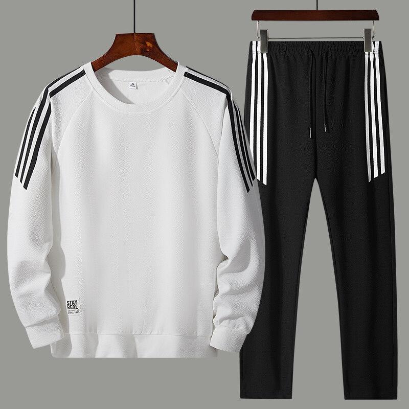 2020春季蚂蚁皱两件套套装韩版休闲套装圆领长袖三杠卫衣青年