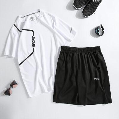 2020夏季新款男士短袖休闲运动套装户外跑步宽松两件套