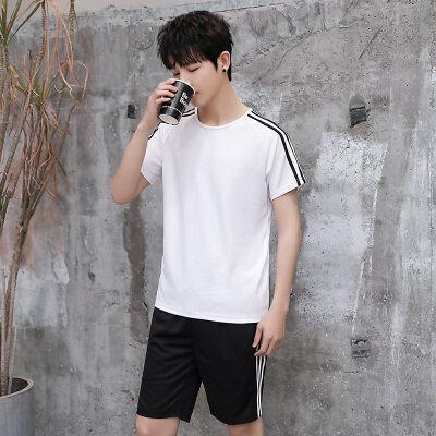 2020新款夏季短袖T恤休闲运动套健身跑步速干衣男两件套