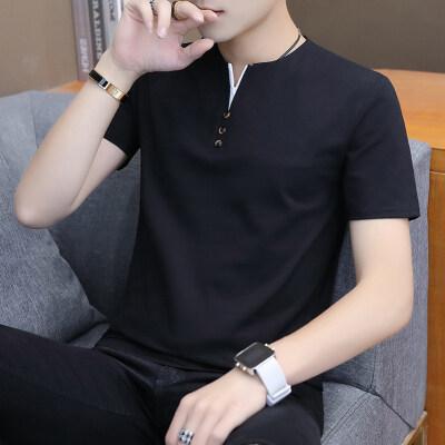 短袖t恤男polo衫V领半袖男装打底衫纯色体恤潮牌衣服潮流