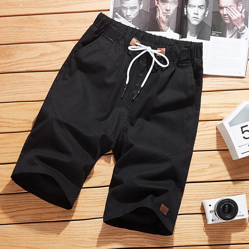 夏季男士沙滩短裤男纯棉大码5分裤休闲修身男短裤薄款中裤五分裤