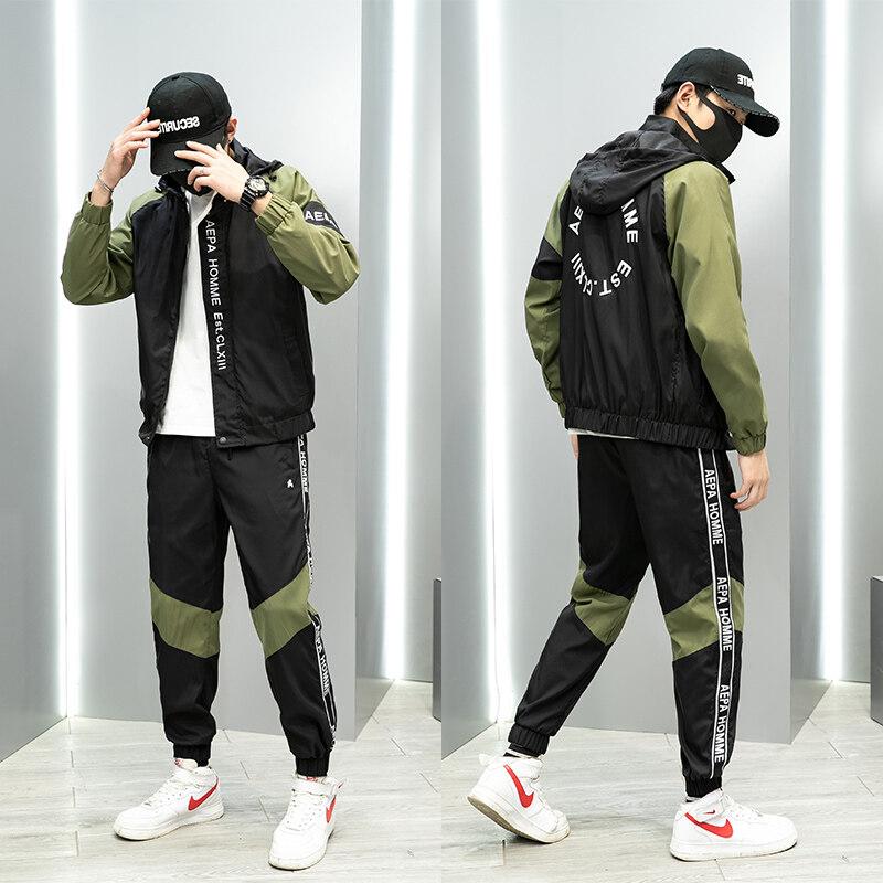2020新款运动套装男潮牌休闲卫衣休闲裤外套青少年夹克帽衫