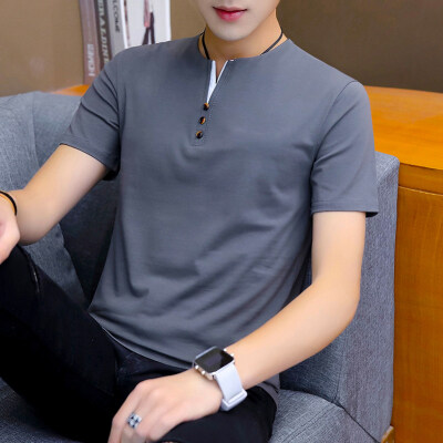 夏季男士短袖t恤潮流潮牌V领打底衫纯棉衣服2020新款体恤