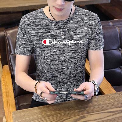 潮牌短袖T恤男2020夏季新款男士韩版修身圆领青少年百搭休闲